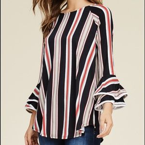 Bell Sleeve Striped Tunic Top